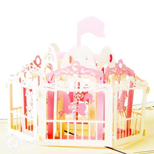 Pretty Pink Merry-go-Round 3D Pop Up Handmade Card
