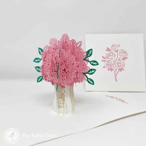 Pretty Pink Rose Bouquet 3D Handmade Pop Up Greetings Card