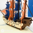 Red And Blue Sailed Galleon Ship 3D Handmade Pop Up Greetings Card #3851