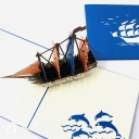 Red And Blue Sailed Galleon Ship 3D Handmade Pop Up Greetings Card #3852