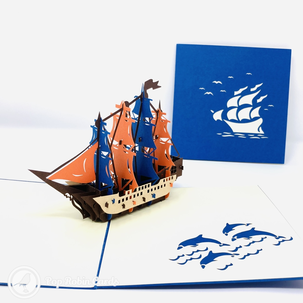 Red And Blue Sailed Galleon Ship 3D Handmade Pop Up Greetings Card #3853