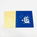 Red And Blue Sailed Galleon Ship 3D Handmade Pop Up Greetings Card #3854
