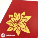 Red And Green Poinsettia Flowers 3D Handmade Pop Up Card #3831