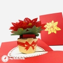 Red And Green Poinsettia Flowers 3D Handmade Pop Up Card #3832