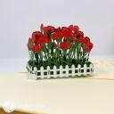Red Carnation Flower Patch 3D Handmade Pop Up Card #3815