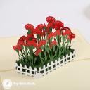 Red Carnation Flower Patch 3D Handmade Pop Up Card #3751