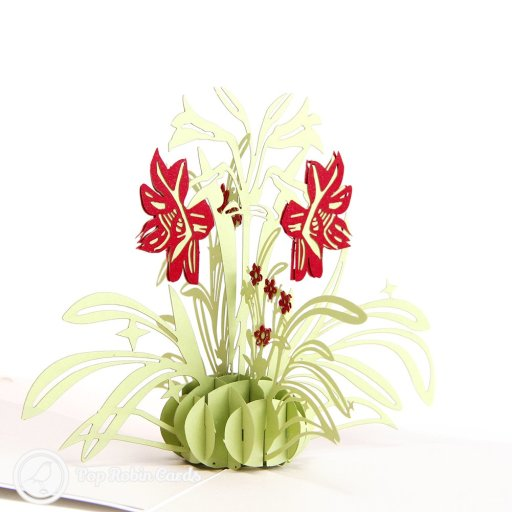 Red Daffodil Handmade 3D Pop-Up Card #2636