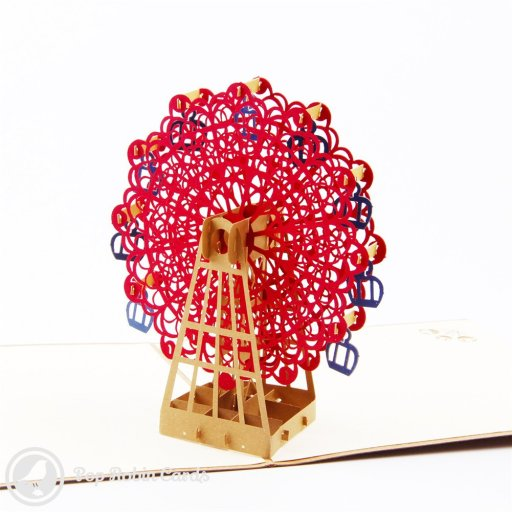 Red Ferris Wheel 3D Pop-Up Greetings Card 1635