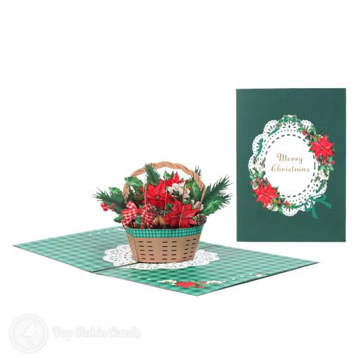 Red & Green Christmas Bouquet 3D Pop Up Card