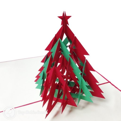 "This Christmas card opens to reveal a 3D pop-up Christmas tree in red and green topped with a star. Stencilled Christmas trees and a ""Merry Christmas"" message appear on the front."