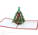 Red & Green Christmas Tree with Star Handmade 3D Pop-Up Card #3550