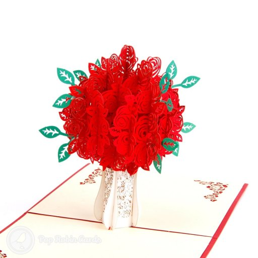 This beautiful greetings card opens to reveal a stunning 3D pop up design showing a vase of red roses. Two cover designs are available: a plain red stencilled design, and a watercolour painting design.  Watercolour is available.