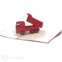 Red Dumper Truck Handmade 3D Pop Up Card #3100