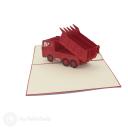 Red Dumper Truck Handmade 3D Pop Up Card #3101