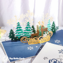 Reindeer In Golden Christmas Forest 3D Pop Up Christmas Card #3447