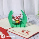 Reindeer In Forest Glade Handmade Card #3420