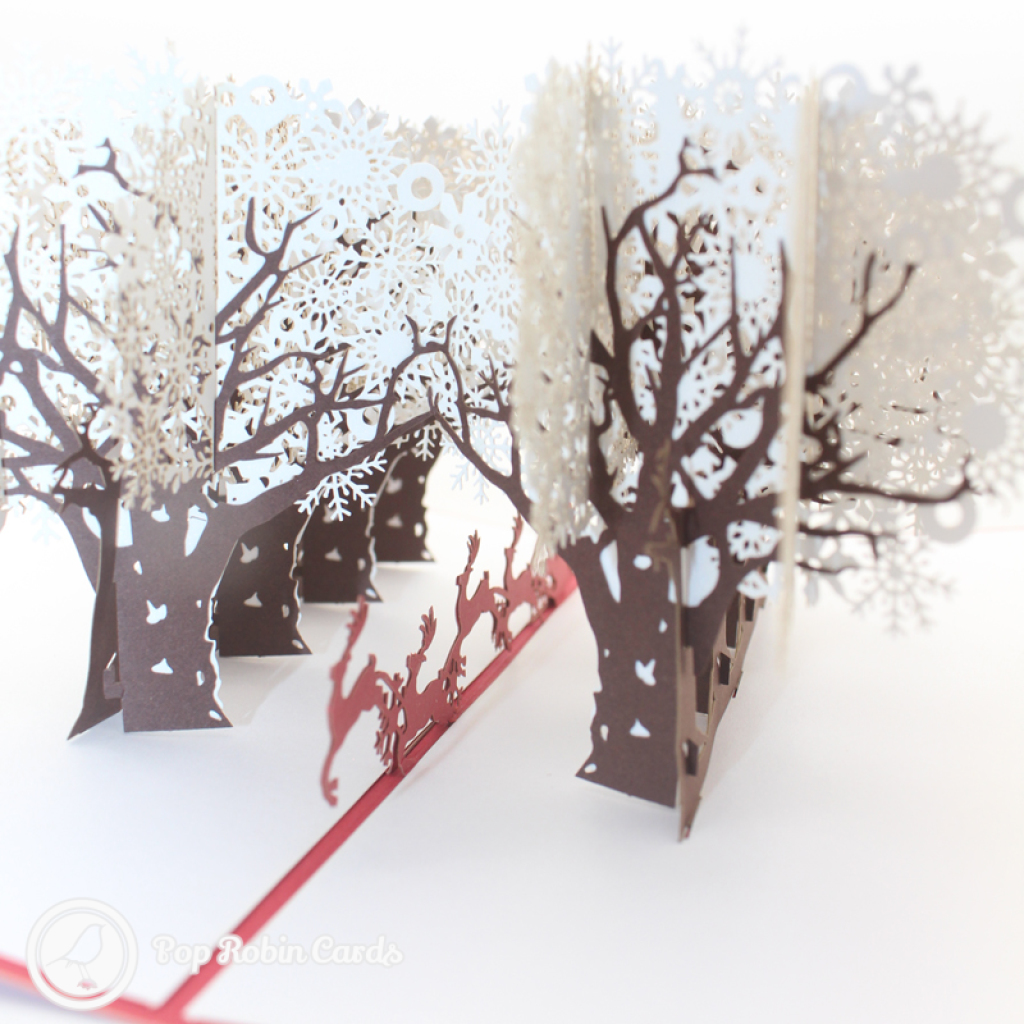 Reindeer Sleigh Through Forest 3D Handmade Card #3459