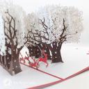 Reindeer Sleigh Through Forest 3D Handmade Card #3460