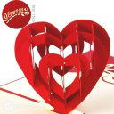 Romantic Heart 3D Pop-Up Card (Red) 1959
