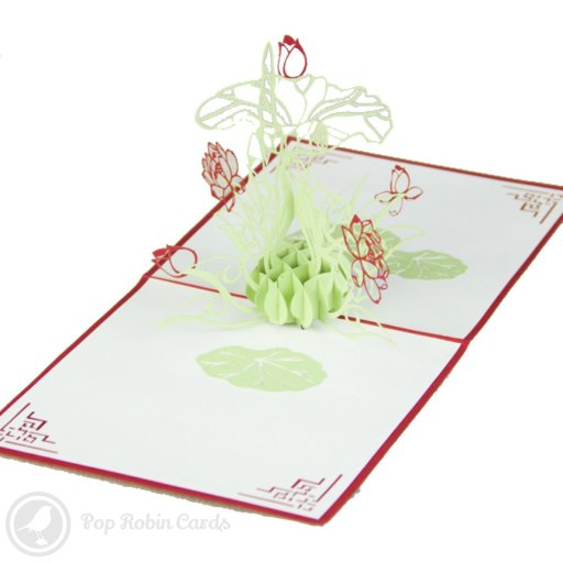 This beautiful greetings card opens to reveal a tall lotus flower in a 3D pop-up design. The cover also shows a lotus plant in a stenciled design.