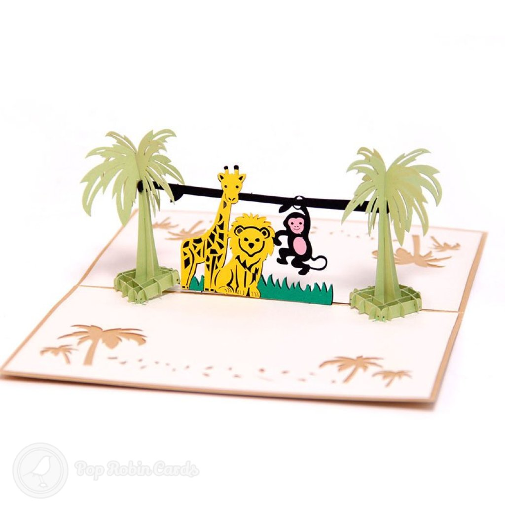 Safari Animals 3D Pop Up Greeting Card 2011