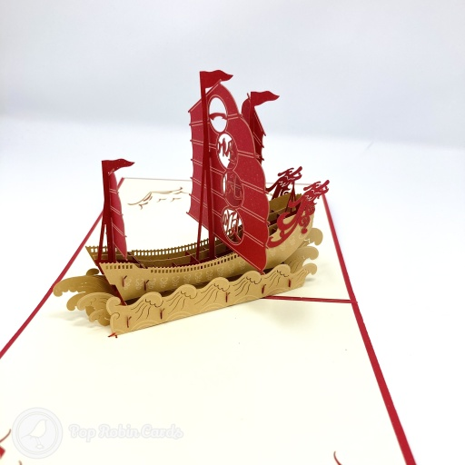 Safe Journey Chinese Junk Sailing Ship 3D Pop-up Card