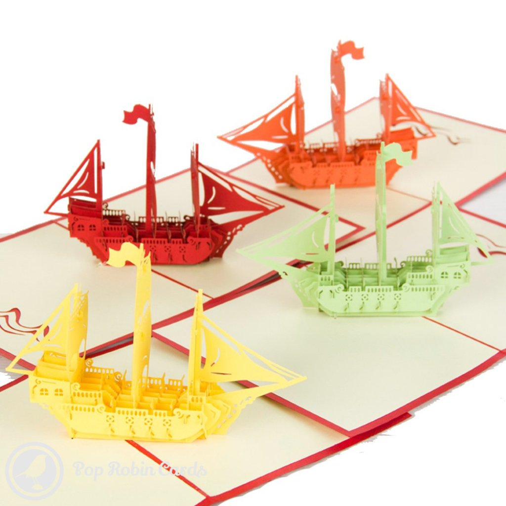Sailing Ship Handmade 3D Pop-Up Card | Pop Robin Cards UK ...