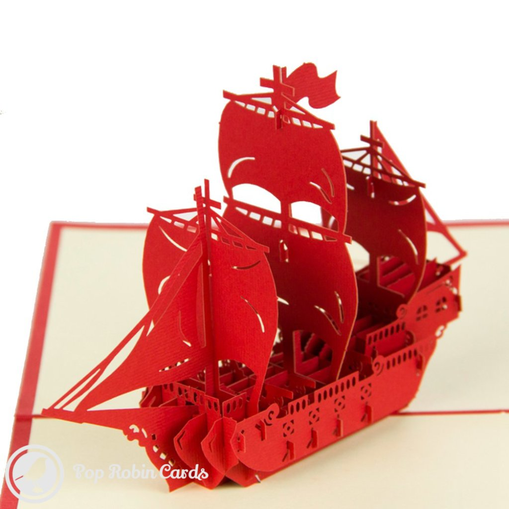 Sailing Ship 3D Pop-Up Greeting Card (Red) 1669