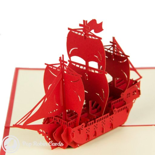 This intricate greetings card opens to reveal a stunning sailing ship in a 3D pop-up design. The detailed design is complete with masts, sails and flags, and is sure to impress sailors and pirates alike! The card is available in four different colours.