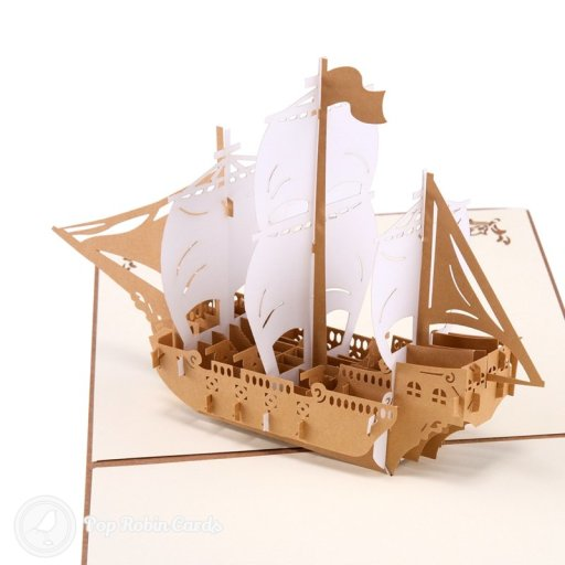 Sailling Boat 3D Handmade Pop-Up Card #2603
