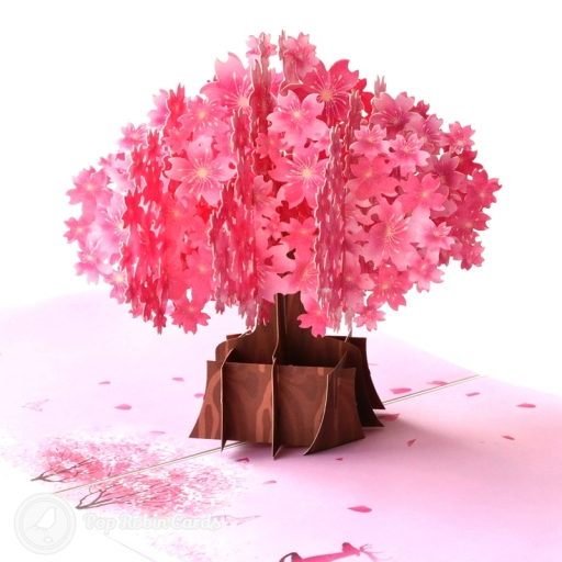 "This beautiful greetings card opens to reveal a stunning 3D pop up design showing a Japanese cherry blossom tree. The cover hsa a floral pink design with the Japanese word for cherry blossom: ""Sakura"". There is a separate smaller card that slots inside, where you can add your message."