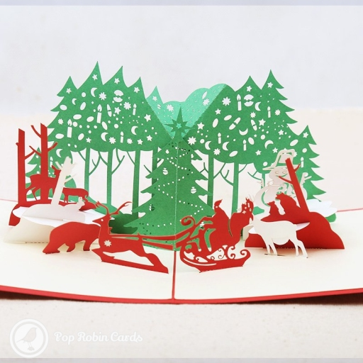 "This beautiful Christmas card opens to reveal a detailed snowy Christmas scene, with Santa riding his sleigh through a forest surrounded by reindeer and bears. The cover has a ""Merry Christmas"" message and a stenciled Christmas tree design."