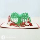Santa Christmas Forest 3D Pop-Up Christmas Card #2859