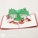 Santa Christmas Forest 3D Pop-Up Christmas Card #2860