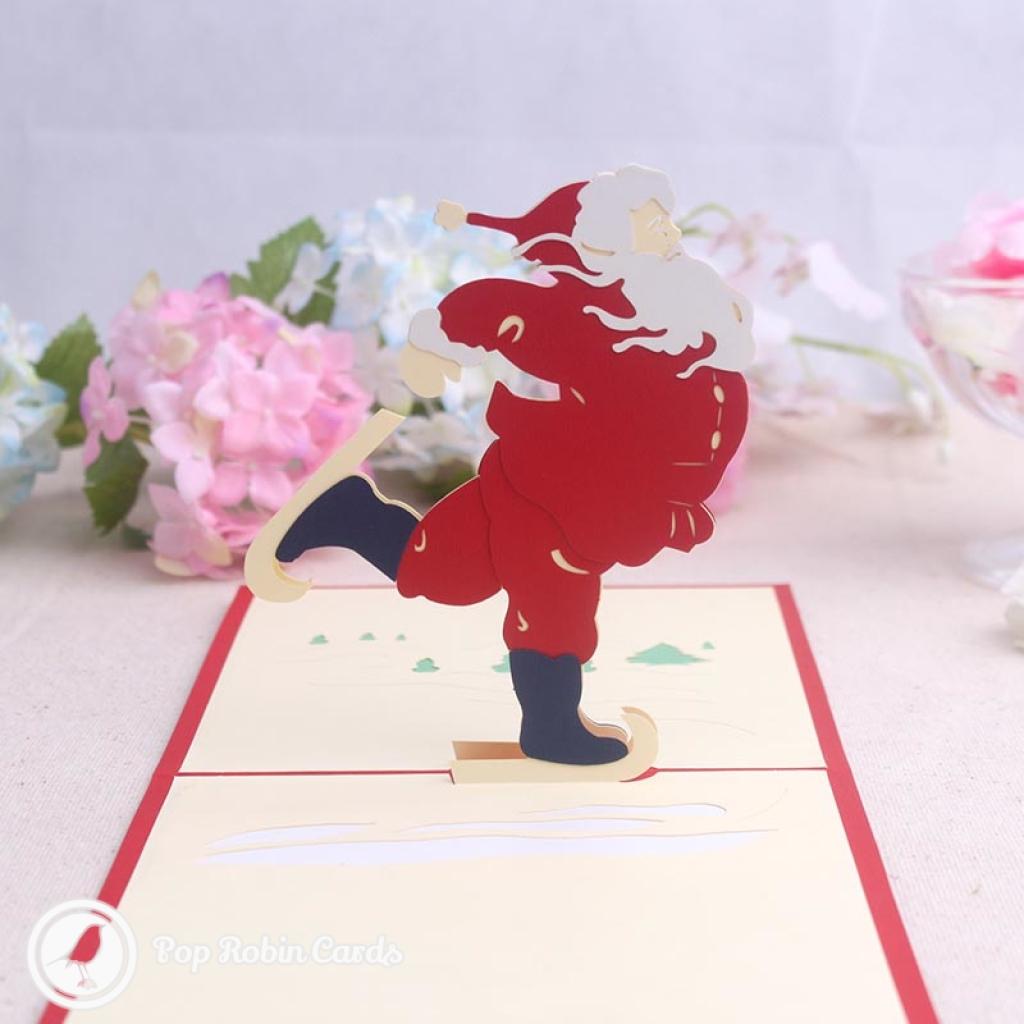 Santa Dances On Ice Skates 3D Pop Up Handmade Card #3505