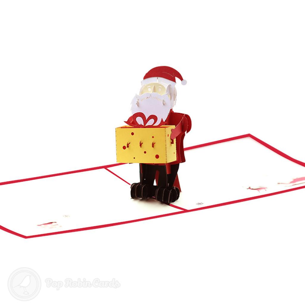 Santa Delivering Christmas Present 3D Pop Up Card #3499