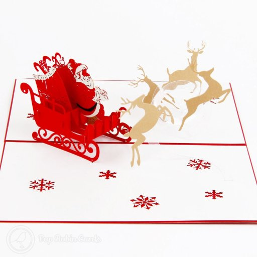 This wonderful festive card is sure to delight at Christmas with its 3D pop-up design showing Santa flying on his sleigh full of presents pulled by reindeer.