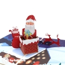 Santa In Chimney 3D Handmade Pop Up Card #3552