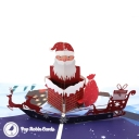 Santa In Chimney 3D Handmade Pop Up Card #3553