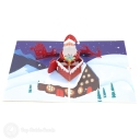 Santa In Chimney 3D Handmade Pop Up Card #3554
