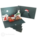 Santa In Christmas Eve Moonlight 3D Pop-Up Christmas Card #2765
