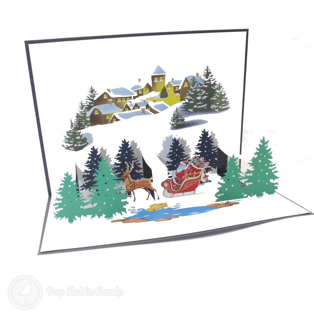 Santa Near Christmas Town 3D Handmade Card #3455