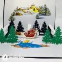 Santa Near Christmas Town 3D Handmade Card #3631