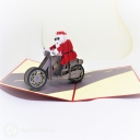 Santa on Motorbike Handmade 3D Pop-Up Christmas Card #2767