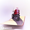 Santa on Motorbike Handmade 3D Pop-Up Christmas Card #2769