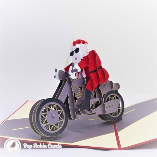 Santa on Motorbike Handmade 3D Pop-Up Christmas Card #2770