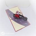 Santa on Motorbike Handmade 3D Pop-Up Christmas Card #2771