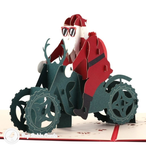 This funky Christmas card is sure to get a laugh with its amazing 3D pop up design showing Santa Claus wearing sunglasses and riding a motorbike through winter snow. The cover has a stencil design also showing Santa with his sunglasses on.