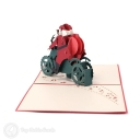 Santa on Motorbike Handmade 3D Pop-Up Christmas Card #3598