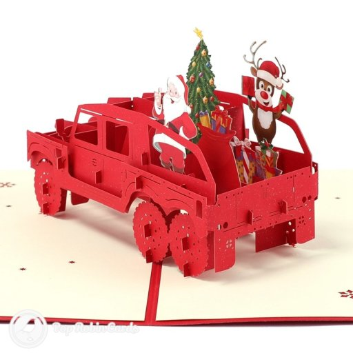 Santa & Rudolf Christmas Car Handmade 3D Pop-Up Christmas Card #2515